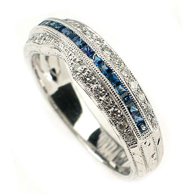 Wedding Rings  Sapphires on 71ct E Vs Blue Sapphire   Diamond Wedding Band Ring   Ebay