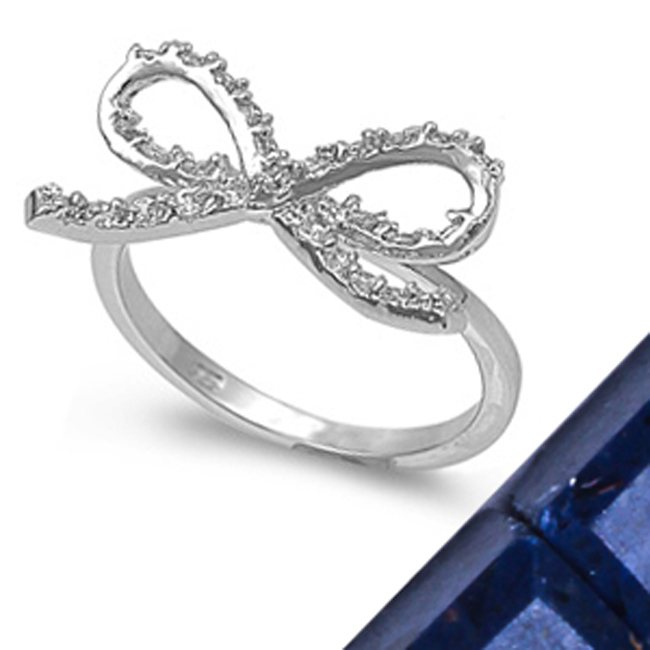 cute white topaz bow ring 925 sterling silver ring sizes 510