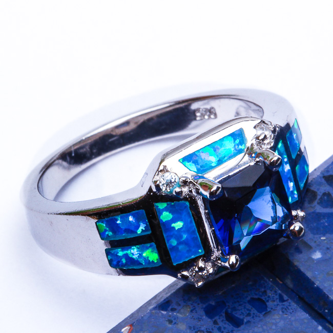 BEST SELLER! Sapphire & Blue Australian Opal .925 Sterling Silver Ring Sizes 5-9 in Jewelry & Watches, Fine Jewelry, Fine Rings | eBay