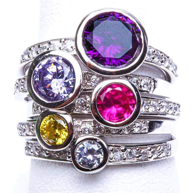5 RINGS Gemstone & White Topaz STACKABLE .925 Sterling Silver Ring Sizes 6-10 in Jewelry & Watches, Fine Jewelry, Fine Rings | eBay